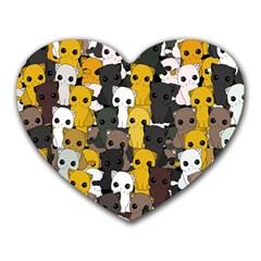 Cute Cats Pattern Heart Mousepads by Valentinaart