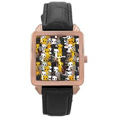 Cute Cats Pattern Rose Gold Leather Watch  by Valentinaart
