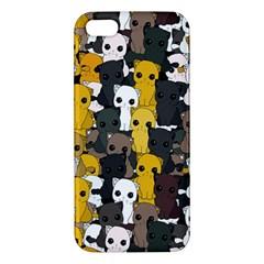 Cute Cats Pattern Apple Iphone 5 Premium Hardshell Case by Valentinaart