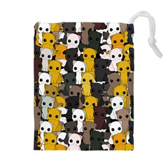 Cute Cats Pattern Drawstring Pouches (extra Large) by Valentinaart