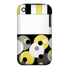 Black, Gray, Yellow Stripes And Dots Iphone 3s/3gs by theunrulyartist