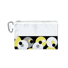 Black, Gray, Yellow Stripes And Dots Canvas Cosmetic Bag (s) by theunrulyartist
