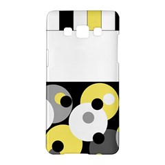 Black, Gray, Yellow Stripes And Dots Samsung Galaxy A5 Hardshell Case  by theunrulyartist