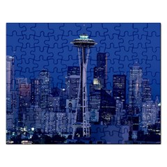 Space Needle Seattle Washington Rectangular Jigsaw Puzzl by Nexatart