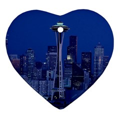 Space Needle Seattle Washington Heart Ornament (two Sides) by Nexatart