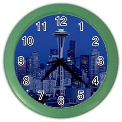 Space Needle Seattle Washington Color Wall Clocks by Nexatart