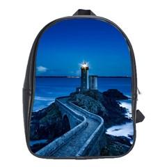 Plouzane France Lighthouse Landmark School Bag (xl) by Nexatart