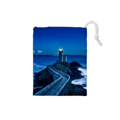 Plouzane France Lighthouse Landmark Drawstring Pouches (small)  by Nexatart