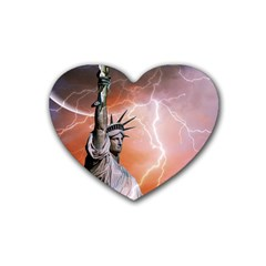 Statue Of Liberty New York Rubber Coaster (heart)  by Nexatart