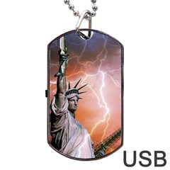 Statue Of Liberty New York Dog Tag Usb Flash (two Sides) by Nexatart