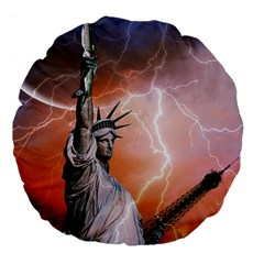 Statue Of Liberty New York Large 18  Premium Flano Round Cushions by Nexatart