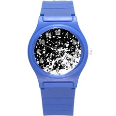 Black And White Splash Texture Round Plastic Sport Watch (s) by dflcprints