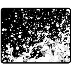 Black And White Splash Texture Double Sided Fleece Blanket (medium)  by dflcprints