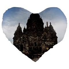 Prambanan Temple Indonesia Jogjakarta Large 19  Premium Heart Shape Cushions by Nexatart