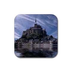 Mont Saint Michel France Normandy Rubber Square Coaster (4 Pack)  by Nexatart