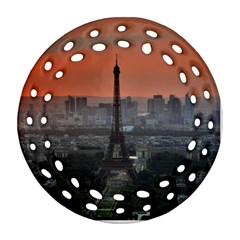 Paris France French Eiffel Tower Round Filigree Ornament (two Sides) by Nexatart
