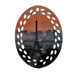 Paris France French Eiffel Tower Ornament (oval Filigree) by Nexatart