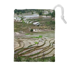 Rice Fields Terraced Terrace Drawstring Pouches (extra Large) by Nexatart