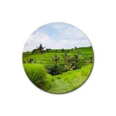 Bali Rice Terraces Landscape Rice Rubber Coaster (round)  by Nexatart
