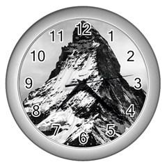 Matterhorn Switzerland Mountain Wall Clocks (silver)  by Nexatart