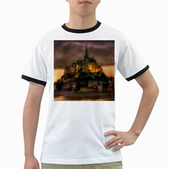 Mont St Michel Sunset Island Church Ringer T Shirts