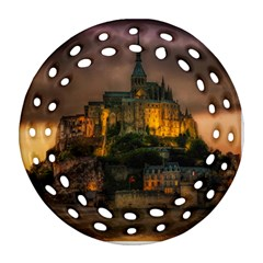 Mont St Michel Sunset Island Church Round Filigree Ornament (two Sides) by Nexatart