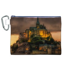 Mont St Michel Sunset Island Church Canvas Cosmetic Bag (xl) by Nexatart