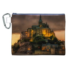 Mont St Michel Sunset Island Church Canvas Cosmetic Bag (xxl) by Nexatart