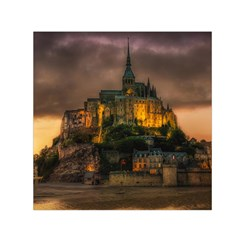 Mont St Michel Sunset Island Church Small Satin Scarf (square) by Nexatart