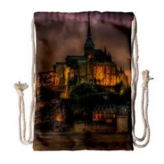 Mont St Michel Sunset Island Church Drawstring Bag (large) by Nexatart