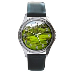 Rice Terrace Terraces Round Metal Watch by Nexatart