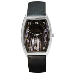 Sainte Chapelle Paris Stained Glass Barrel Style Metal Watch by Nexatart