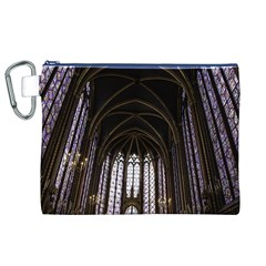 Sainte Chapelle Paris Stained Glass Canvas Cosmetic Bag (xl) by Nexatart