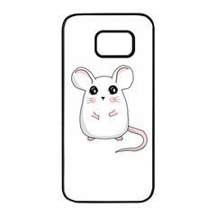 Cute Mouse Samsung Galaxy S7 Edge Black Seamless Case by Valentinaart