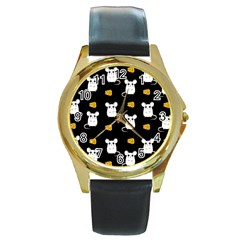 Cute Mouse Pattern Round Gold Metal Watch by Valentinaart