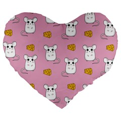 Cute Mouse Pattern Large 19  Premium Heart Shape Cushions by Valentinaart