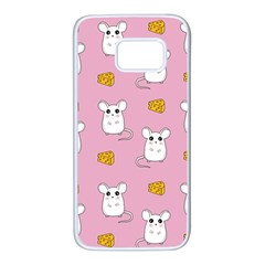 Cute Mouse Pattern Samsung Galaxy S7 White Seamless Case by Valentinaart