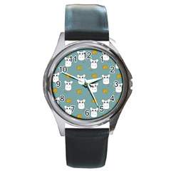Cute Mouse Pattern Round Metal Watch by Valentinaart
