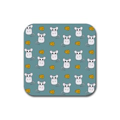 Cute Mouse Pattern Rubber Square Coaster (4 Pack)  by Valentinaart
