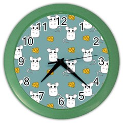 Cute Mouse Pattern Color Wall Clocks by Valentinaart