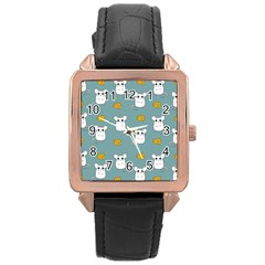 Cute Mouse Pattern Rose Gold Leather Watch  by Valentinaart