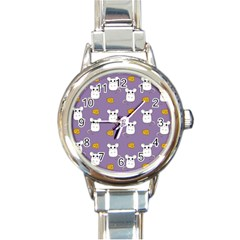 Cute Mouse Pattern Round Italian Charm Watch by Valentinaart