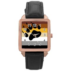 Bear Pride Flag Rose Gold Leather Watch  by Valentinaart