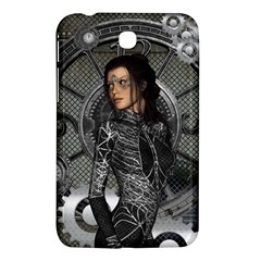 Steampunk, Steampunk Lady, Clocks And Gears In Silver Samsung Galaxy Tab 3 (7 ) P3200 Hardshell Case  by FantasyWorld7