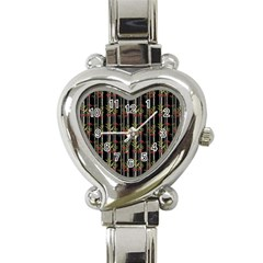 Bamboo Pattern Heart Italian Charm Watch by ValentinaDesign