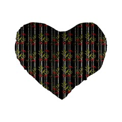 Bamboo Pattern Standard 16  Premium Flano Heart Shape Cushions by ValentinaDesign