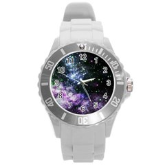 Space Colors Round Plastic Sport Watch (l) by ValentinaDesign