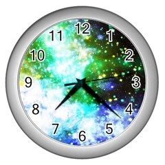 Space Colors Wall Clocks (silver)  by ValentinaDesign
