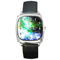 Space Colors Square Metal Watch by ValentinaDesign