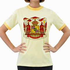 Kingdom Of Hawaii Coat Of Arms, 1850 1893 Women s Fitted Ringer T Shirts by abbeyz71